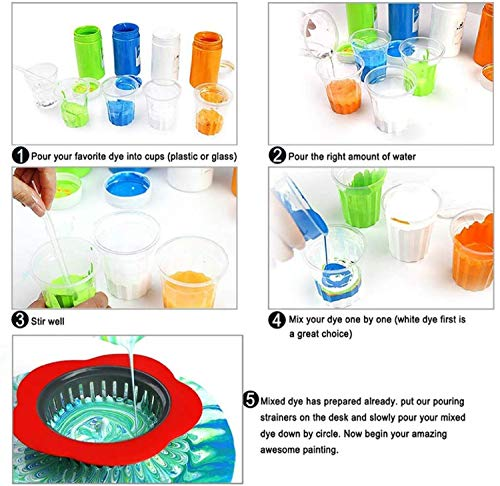 Acrylic Pouring Strainers,10 Pcs Acrylic Paint Pouring Strainers Plastic Flower Strainers Silicone Pouring Drain Basket for DIY Pouring Acrylic Paint and Creating Unique Patterns Art Supplies