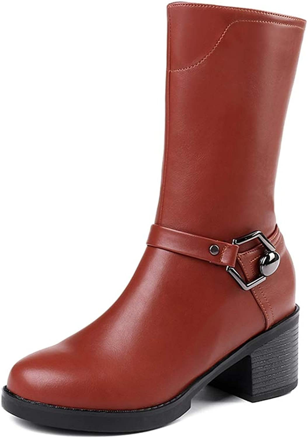 Hoxekle Woman Mid Calf Boots Metal Buckle Mid Chunky Heel Zipper Round Toe Female Sexy Casual Walking Short Boots.
