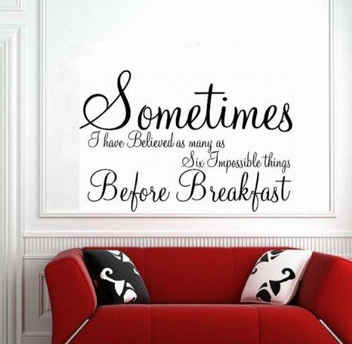 Windsor Designers Sticker Mural – Parfois Alice au Pays des Merveilles Décoration Murale Citation Transfert Chambre à Coucher, Noir, M - 60 x 40 cm