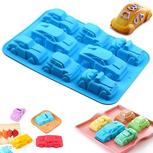 WELLXUNK Auto Form Silikonform, Silikon Muffinform Kuchen, für Muffins Cupcakes, Kuchen, Pudding, Eiswürfel und Gelee - Karikatur Auto Silikonform für Hochwertige Kuchenform
