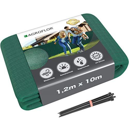 AGROFLOR Brise-vue - Tapis ombragé - Protection contre le vent - Avec attache-câbles ca. 20-25St. - Différentes tailles 1,2 x 10 m vert foncé