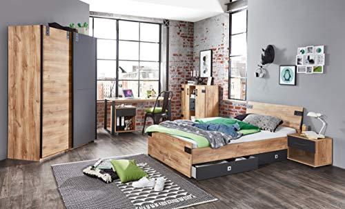 möbel-direkt Jugendzimmer Liverpool in Plankeneiche mit Absetzungen in Graphit 7 teiliges Megaset mit Schrank, Bett mit Schubkästen, Nachttisch, Schreibtisch mit Rollcontainer, Kommode
