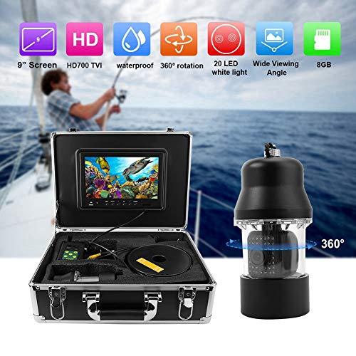 【𝐒𝐞𝐦𝐚𝐧𝐚 𝐒𝐚𝐧𝐭𝐚】 Cámara de pesca submarina, cable de 100m Cámara de video de pesca submarina de 9 pulgadas Sistema DVR Buscador de peces giratorio de 360 ° para hielo, pesca en el lago, inspe