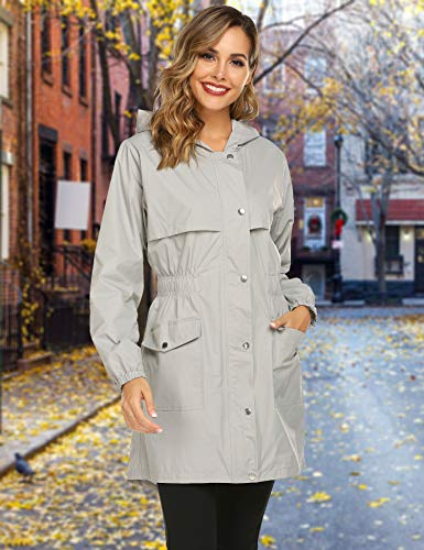 Avoogue Rain Coats for Women Waterproof Long Hooded Trench Coats Travel Jacket Grey