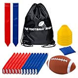Flag Football Set for 12 Players - Includes Durable Flag Belts and Flags, Cones, Bean Bag, Carrying Backpack, and Football - Huge 55 Piece Complete Set (Red and Blue)