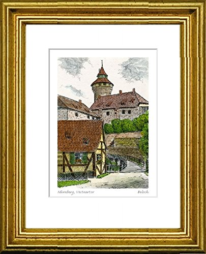 Kunstverlag Christoph Falk Handkolorierte Radierung Nürnberg, Vestnertor im Rahmen Gold hinter Passepartout