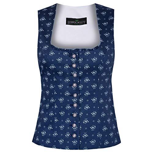 Berwin und Wolff Damen Trachten-Mode Trachtenmieder Gina in Blau traditionell, Größe:32, Farbe:Blau