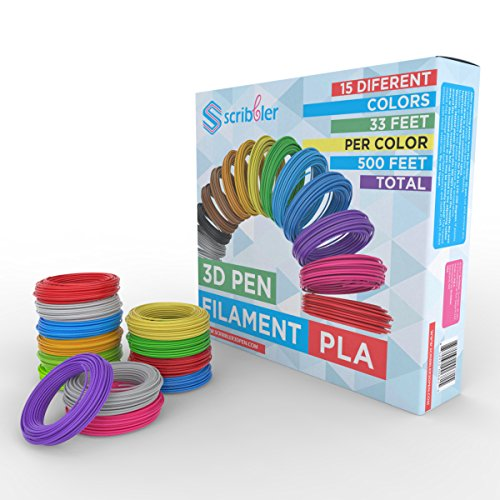 Scribbler 3D Pen PLA Filament Refills for 3D Drawing Pen | Premium Quality, Durable PLA Material| 500 Linear Feet for Endless Doodles| 15 Different Colors| Take Your 3D Modeling to The Next Level