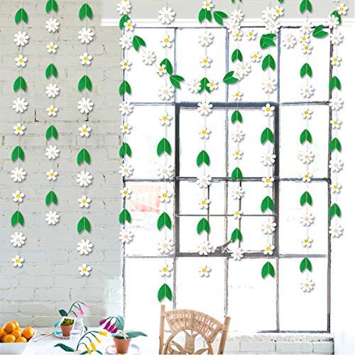 Daisy Filz-Girlande mit weißen Blättern und grünen Blättern, künstliche Blumen zum Aufhängen, für Frühlingsdekorationen, Fensterdekorationen für Hochzeiten, Partys