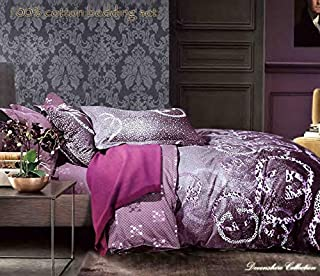 Devonshire Collection 600 Thread Count, 100% Cotton Queen Size 4PCs Bedding Set (Quilt Cover, Fitted Sheet, 2xPillow Case) Fits Mattress Up to 15'' Deep. Art No:ST144