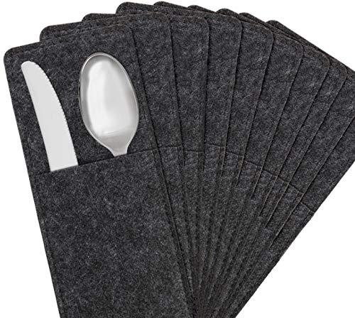 Miqio ® - Design Bestecktaschen aus Filz abwaschbar | 10er-Set |Skandinavische Deko - passend Tischsets, Platzsets, Tischdecken | Dunkelgrau Anthrazit