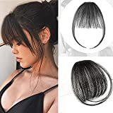 Clip in Air Bangs Remy Human Hair Extensions One Piece Front Neat Air Fringe Hand Tied Straight Flat Bangs Clip on Hairpiece for Women (Natural)