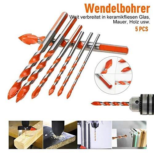 Alpenadler™ Multifunktionale Bohrer große Härte Unbesiegbar 5PCS,Professional Mehrzweck Bohrer Set für Beton, Mauerwerk, Kalksandstein, Zubehör für Glas, Keramikfliesen(Schwarz +5)