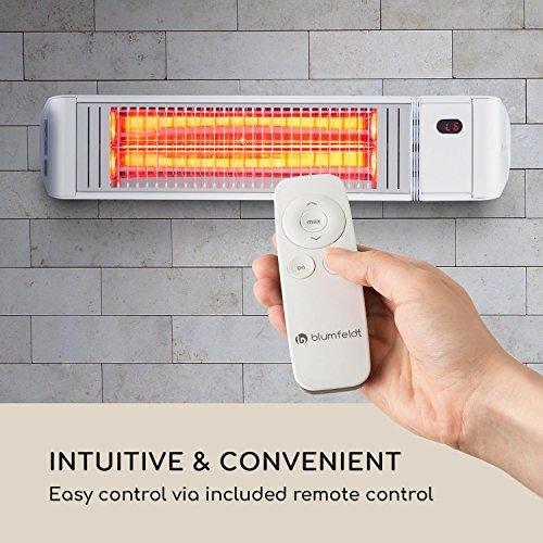 Blumfeldt Gold Fever Smart • Infrarot-Heizstrahler • Terrassenheizstrahler • 2000 W • 6 Wärmestufen • Infrarot-Wärme • Bluetooth • App-Control • bis 20 m² • inkl. Fernbedienung und Wandhalterung • weiß - 7
