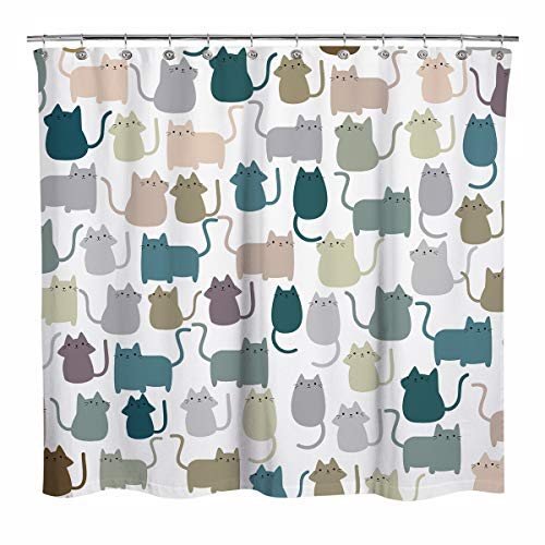 Sunlit Design Lovely Multicolor Cartoon Cats Fabric Shower Curtain, Cute Cats Bathroom Decoration Curtains