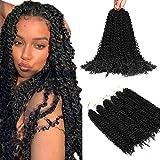 6 paquetes de extensiones de cabello Natural Black Passion Twists para mujeres negras, 20 pulgadas (51 cm) Pelo de ganchillo sintético de onda de agua de moda