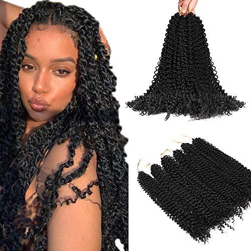 Extension de cheveux Natural Black Twists Passion pour femmes noires, 20 pouces (51 cm) Crochet synthétique à la mode avec vague d'eau