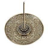 QINREN Räucherstäbchen Halter Zink Legierung Lotus Ash Catcher Räuchergefäß Platte Räucherstäbchenhalter für Räucherstäbchen Räucherkegel (Bronze)
