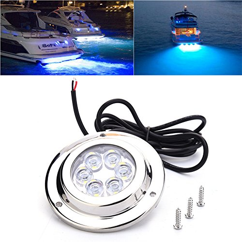 LED Underwater Light, Waterproof Ip68 Led Underwater Boat Lights, Stainless Steel Underwater LED Light for Boat Marine Yacht(Blue) Blue