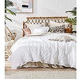 JEMIDI Tagesdecke 200cm x 220cm Bettüberwurf Bettüberwurf Sofaüberwurf Bett Decke gesteppt Tages Tagesdecken Betthusse (Weiß Rüschen)