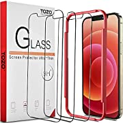 #LightningDeal TOZO Compatible for iPhone 12 and Compatible for iPhone 12 Pro Screen Protector 3 Pack Premium Tempered Glass 0.26mm 9H Hardness 2.5D Film Easy install 6.1 inch