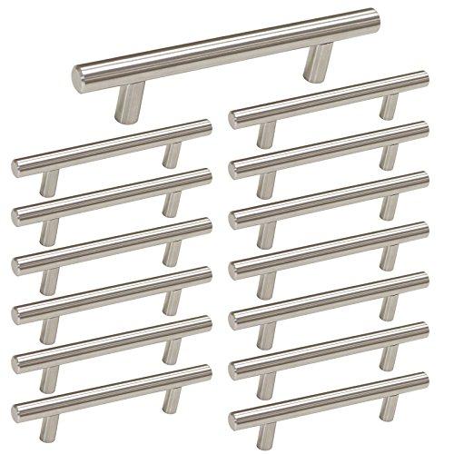 Brushed Nickel Cabinet Pull Kitchen Cabinet Handles - homdiy HD201SN Drawer Pulls Brushed Nickel Cabinet Door Handles, 15Pack 3-1/2in Hole Centers Kitchen Door Handles for Cabinets