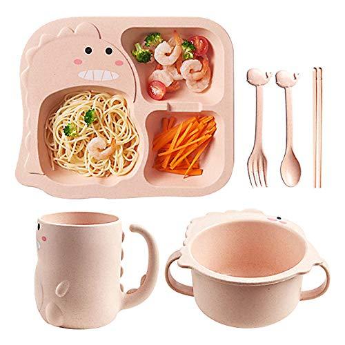 BESYLO Kinder Geschirrset, kinderbesteck Set, 6pcs Geschirr mit Kinderplatte Schüssel Tasse Löffel Gabel, Cartoon Kleiner Dinosaurier, gesundes Weizenstroh Geschirr (Pink)