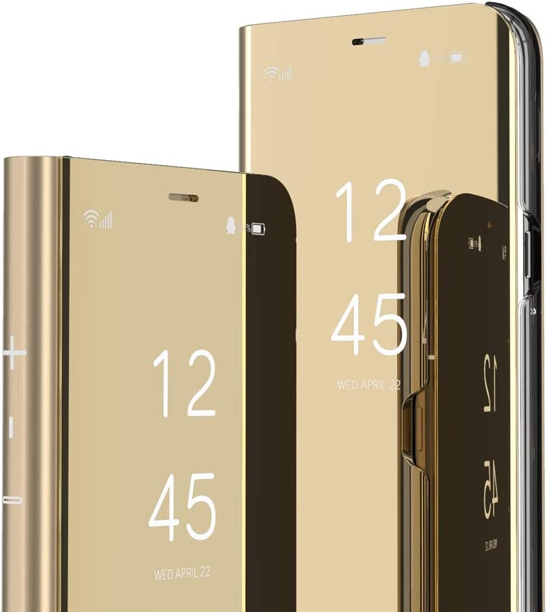 LEMAXELERS Samsung Galaxy Note 20 Ultra Case Slim Mirror Design Clear View Flip Bookstyle Ultra Slim Protecter Shell with Kickstand Protective Cover for Samsung Galaxy Note 20 Ultra Mirror PU PU Gold