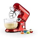 Klarstein Bella Rossa 2G - robot de cuisine, mélangeur, pétrin, 1200 W, 5,2 l, 6 vitesses, pétrin à planétaire, bol en verre, fixation rapide, fouets moulés, fouets à neige, rouge