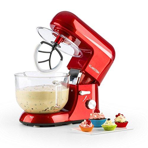 KLARSTEIN Bella Rossa 2g Electric Stand Mixer, Grinder, Dough Bowl, Flat Whisk, Food mixer, Wire Whip, 650 Watts, 5.5 qt Glass Bowl, 6 Speeds