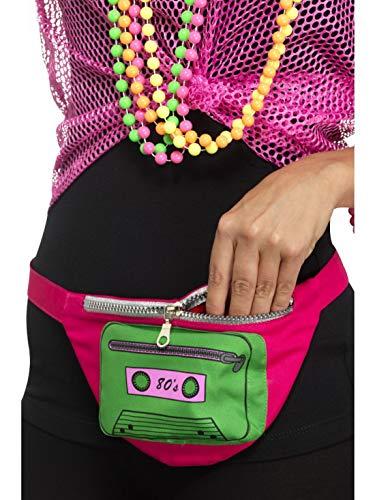 Halloweenia - Kostüm Accessoires Zubehör 80er Jahre Gürteltasche mit Kasetten Motiv, Geldbeutel, perfekt für Karneval, Fasching und Fastnacht, Pink