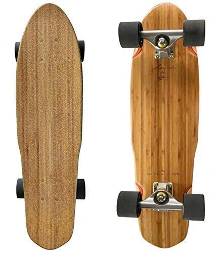 LMAI 27quot Bamboo Wood Cruiser Complete Skateboard Clear Grip