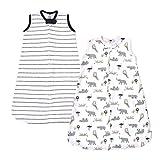 Hudson Baby Unisex Baby Cotton Sleeveless Wearable Sleeping Bag, Sack, Blanket, Modern Neutral Safari, 12-18 Months