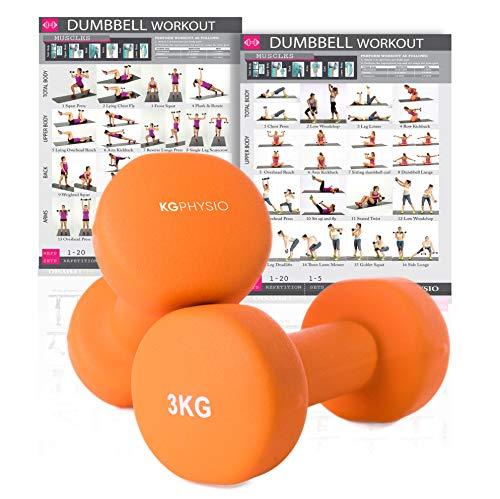 KG Physio Pesi Palestra in Casa Fitness e Palestra Manubri e Pesi Fitness Pesi per Palestra Manubrio (Set di 2) 1-10kg Poster di Allenamento Incluso (3kg)