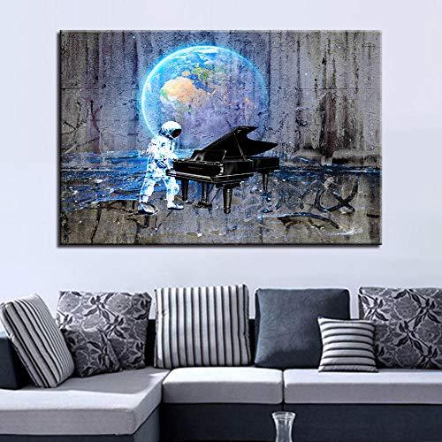 Knncch Astronauten und klavier Wandbilder für Wohnzimmer Moderne Dekoration Poster Nordischen Stil Minimalistischen Leinwand Kunst Hd-druck Malerei-40x60cm
