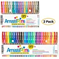 Coloring Gel Pens Bundle by AmazaPens - 150% More Ink Than Other Sets, 50 Colored Pens (Metallic & Brights) for Adult Coloring Books, School Supplies, Zentangle, Bullet Journal & Writing