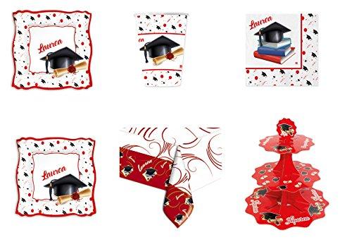 Casa dolce casa Laurea Coordinato ADDOBBO TAVOLA Festa Evento Kit n°22 CDC- (16 Piatti, 16 Bicchieri, 20 tovaglioli,1 Tovaglia, 1 Alzatina)