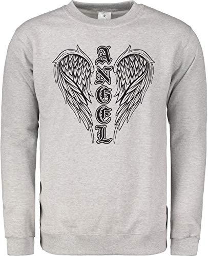 TeezoneDesign Herren-Sweatshirt, Engelsflügel Gr. Medium, grau