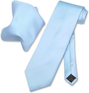 0712f8d756bdc Vesuvio Napoli Solid BABY BLUE Color NeckTie & Handkerchief Men's Neck Tie  Set