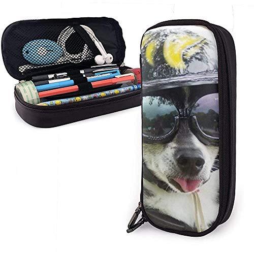 Zonnebril Cool Dog PU lederen tas opbergtas draagbare student pennenzak multifunctionele tas
