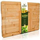 PandaGrip Planche à découper Extra Large de Bambou Bio avec rainure de jus. pour la Viande (étal de Boucher), Fromage et légumes Anti-microbien respectueuse de l'environnement (44,5 x 30 x 2 cm)