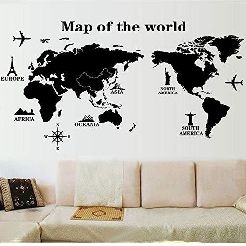 Mapa de la etiqueta de la pared del mundo calcomanía arte vinilo decoración decoración para el hogar aula oficina