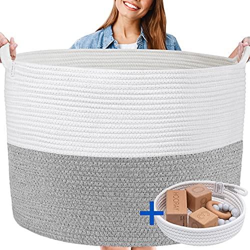 XXXL WASHABLE Blanket Basket Large 2PCs Blanket Storage Living Room - XXX Large Basket for Storing Blankets and Toys + Small Basket for Toys, Keys, Masks | Basket for Blankets (Grey and White)