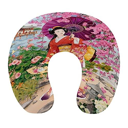 CIKYOWAY Almohada Viaje,Chica Geisha Japonesa,Espuma de Memoria cojín de Cuello,Almohadas de Acampada,Soporte de Cuello para Viaje Coche