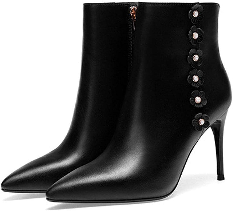 WANG-LONG Damen Martin Stiefel Stiefel Stiefel Herbst Winter Leder High-Heel Spitze Kurze Atmungsaktiv Bequem Rutschfest, schwarz-39  e1562a