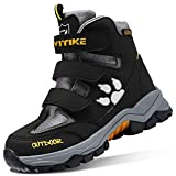 Girls Snow Boots for Boys Winter Boots Hiker Boot Snow Shoes Anti-Slip Steel Buckle High Ankle Protection Waterproof Boots for Boys Black/Grey Size 11 Little Kid