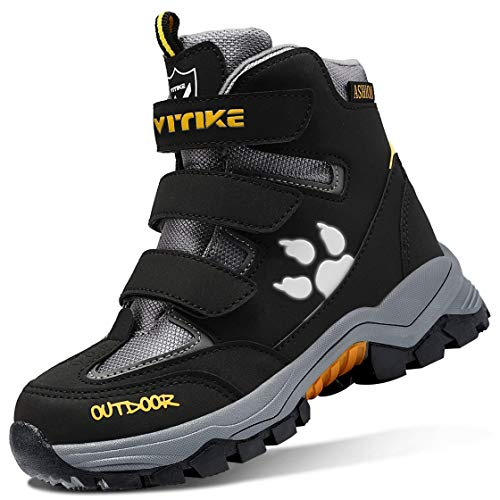 Hawkwell Boys Girls Waterproof Outdoor Warm Winter Snow Boots (Toddler/Little Kids),Black Blue PU,10 M US Toddler