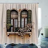 Juego de cortina de ducha vintage de 183 x 183 cm, con ventanas y plantas en maceta, duradero e impermeable, de secado rápido, con 12 ganchos de plástico y alambre de plomo pesado