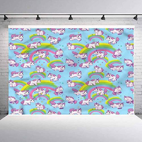 6x6FT Vinyl Backdrop Photographer,Unicorn,Cute Cartoon Childish Background for Party Home Decor Outdoorsy Theme Shoot Props