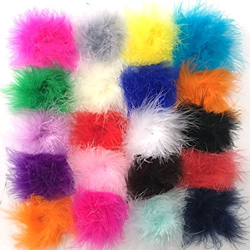 Yazon Marabou Feather Puffs DIY Crafting Feathers Circle Assorted Feathers Flower For Craft Headbands Making 18pcs